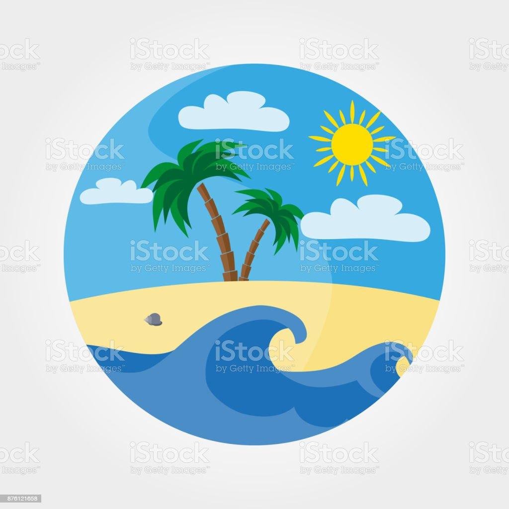 砂浜のビーチ、海、山、満月の波。 ベクターアートイラスト