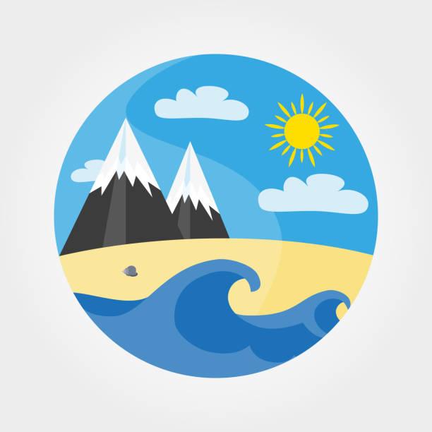 wellen, sandstrand, meer, berge und vollmond. - landschaftstattoo stock-grafiken, -clipart, -cartoons und -symbole
