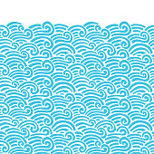 Waves seamless border pattern. Vector illustration with sea waves.