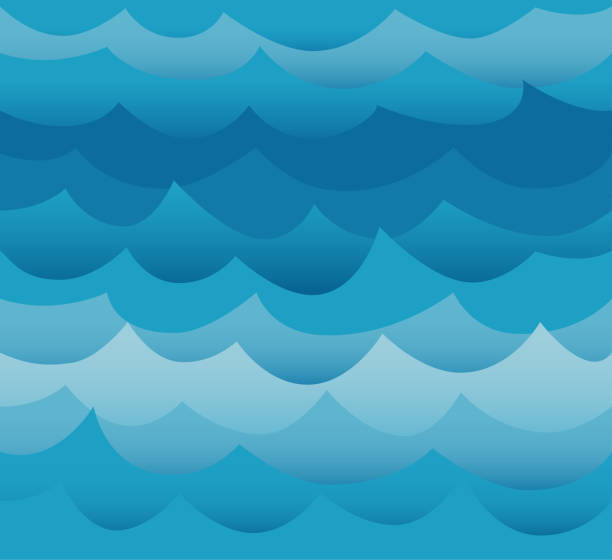waves seamless pattern vector. ocean sea water blue cut out paper style. - river paper stock illustrations, clip art, cartoons, & icons