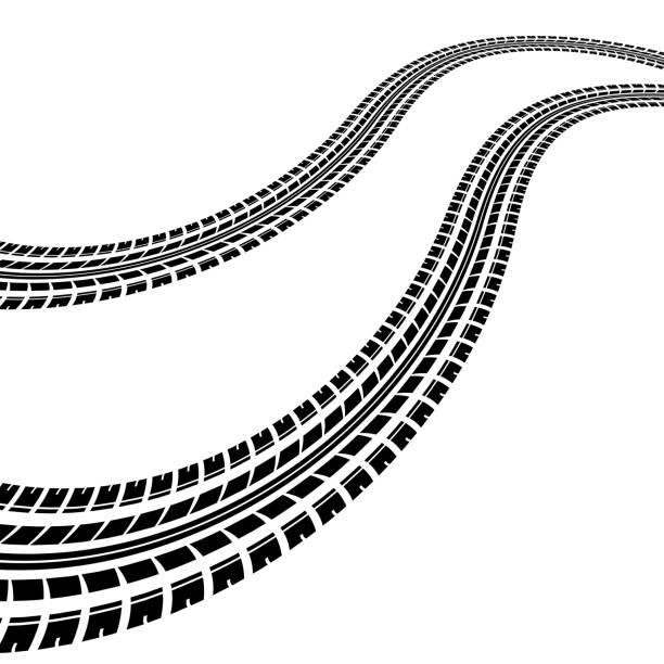 stockillustraties, clipart, cartoons en iconen met golven vermoeien tracks - tractieapparaat