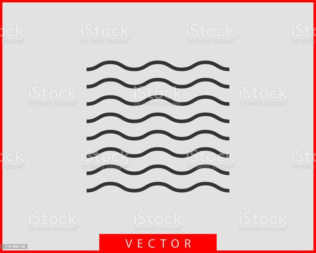Waves Vector Design Water Wave Icon Wavy Lines Isolated
