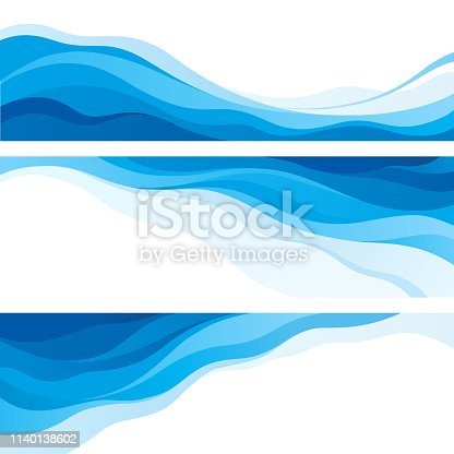 Set of blue waves