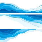Set of blue waves