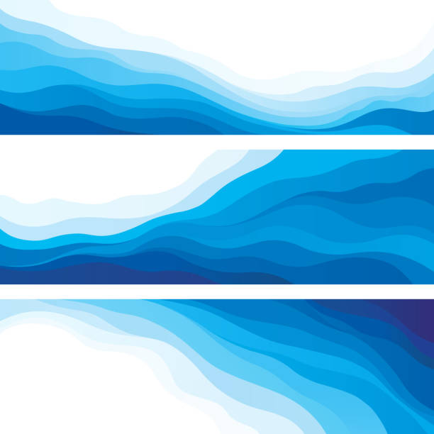 Waves Set of blue wave wave water stock illustrations
