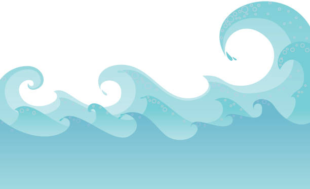 waves abstract stylish sea waves on white background. tide stock illustrations