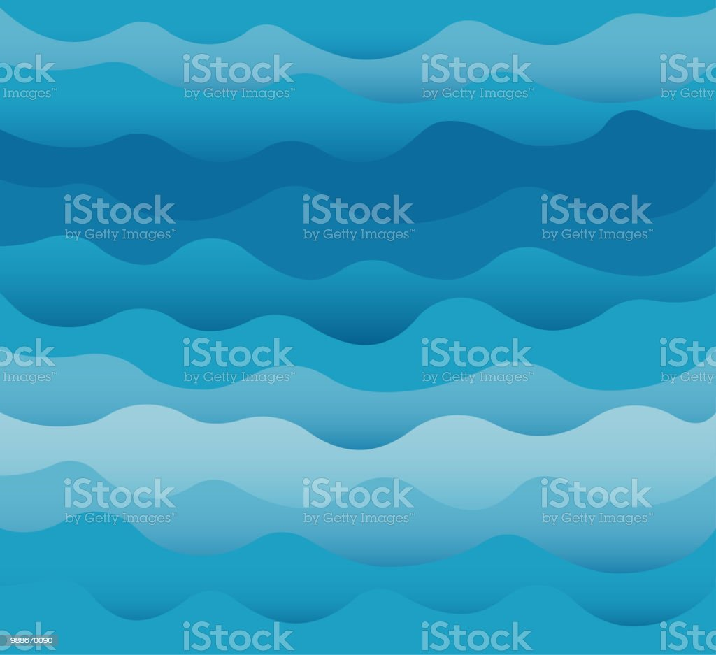 Waves vector. Ocean sea water blue cut out paper style. royalty-free waves vector ocean sea water blue cut out paper style stock illustration - download image now