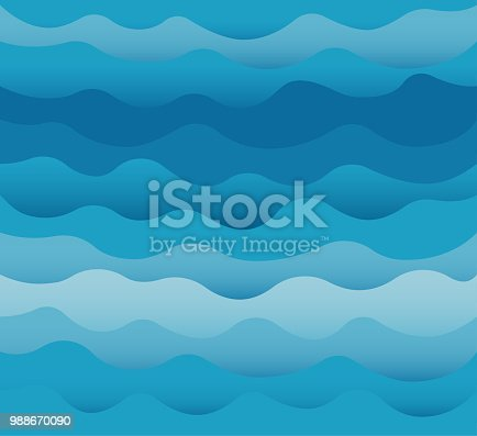 Waves vector. Ocean sea water blue cut out paper style background.