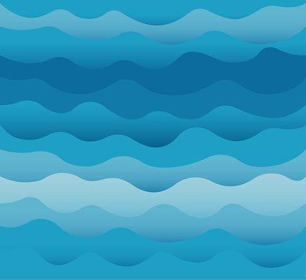 Waves vector. Ocean sea water blue cut out paper style. clipart