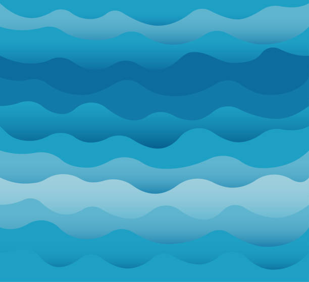 waves vector. ocean sea water blue cut out paper style. - wave pattern stock illustrations