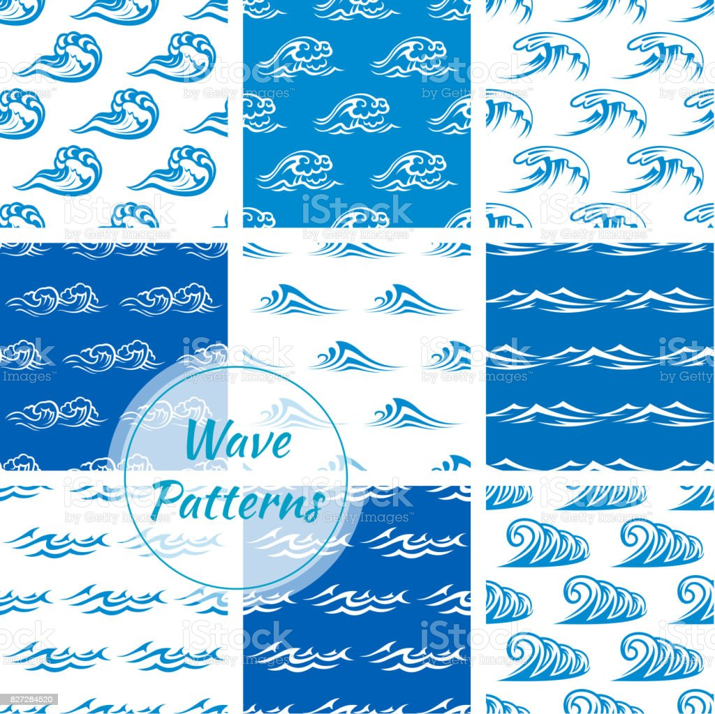 Waves, water splashes seamless patterns set vector art illustration
