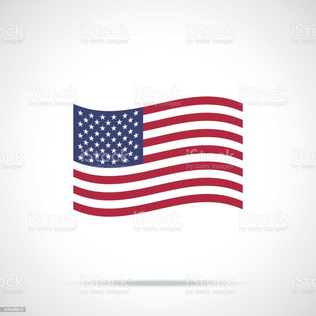 Waving American flag icon. Flag of the United States of America. Vector icon vector art illustration