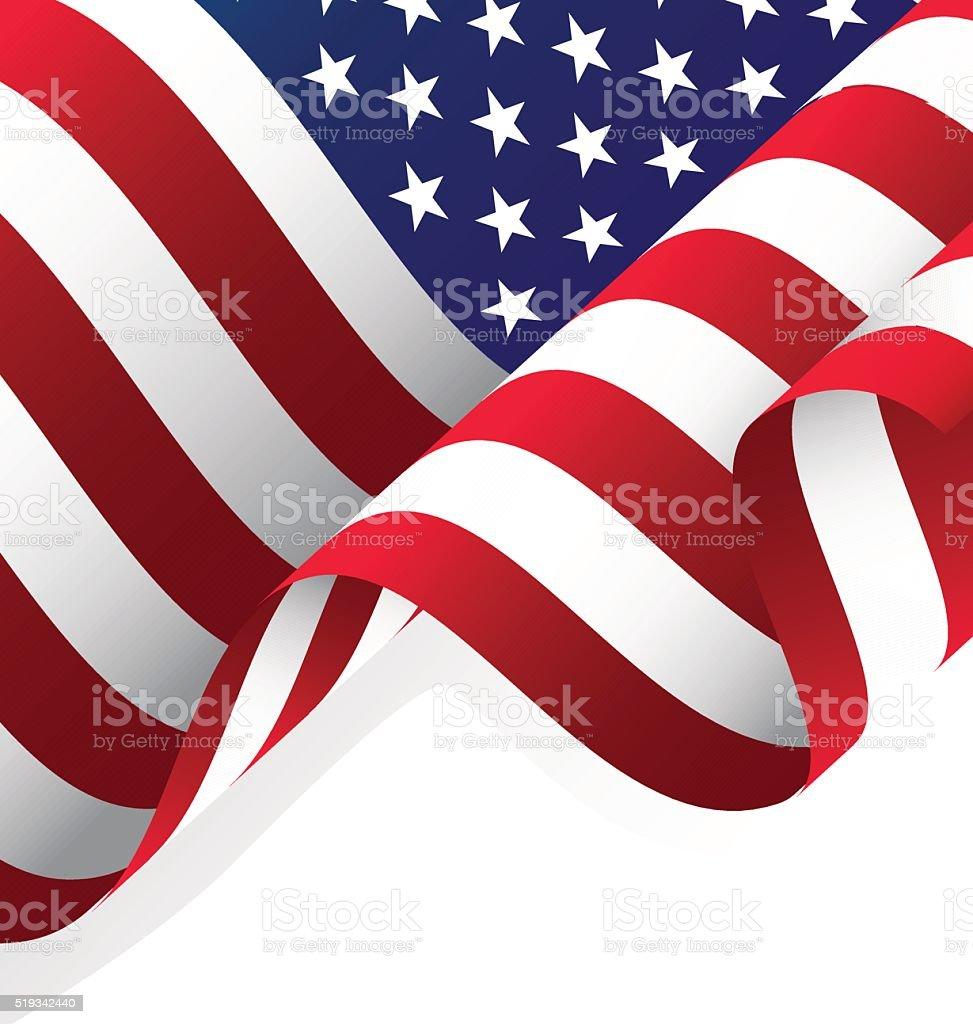 Waving American Flag Vector vector art illustration