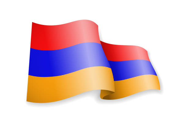 Waving Armenia flag on white background. Waving Armenia flag on white background. Vector illustration armenian culture stock illustrations