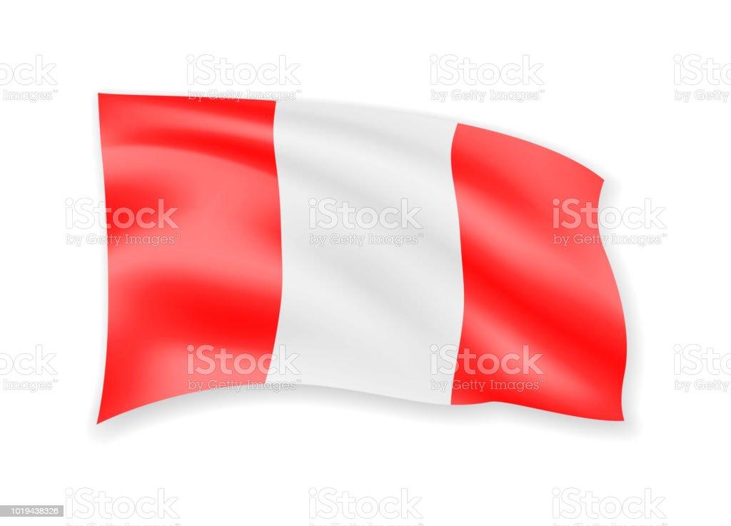 Winken österreichische Flagge Auf Weiß Fahne Im Wind Stock Vektor