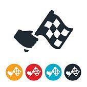 istock Waving Checkered Flag Icon 596816992