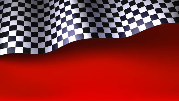 waving checkered racing flag on red background. flag for car or motorsport rally. three dimensional vector illustration for races, competitions, lotto, bookmakers office, promotion of rates - formula 1 stock illustrations