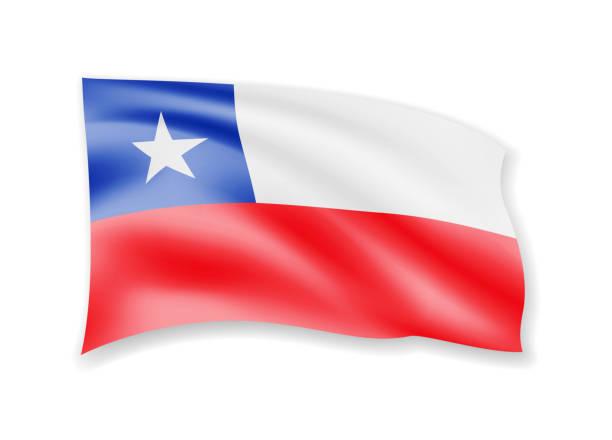 ilustraciones, imágenes clip art, dibujos animados e iconos de stock de bandera de chile agitando en blanco. bandera en el viento. - bandera de chile