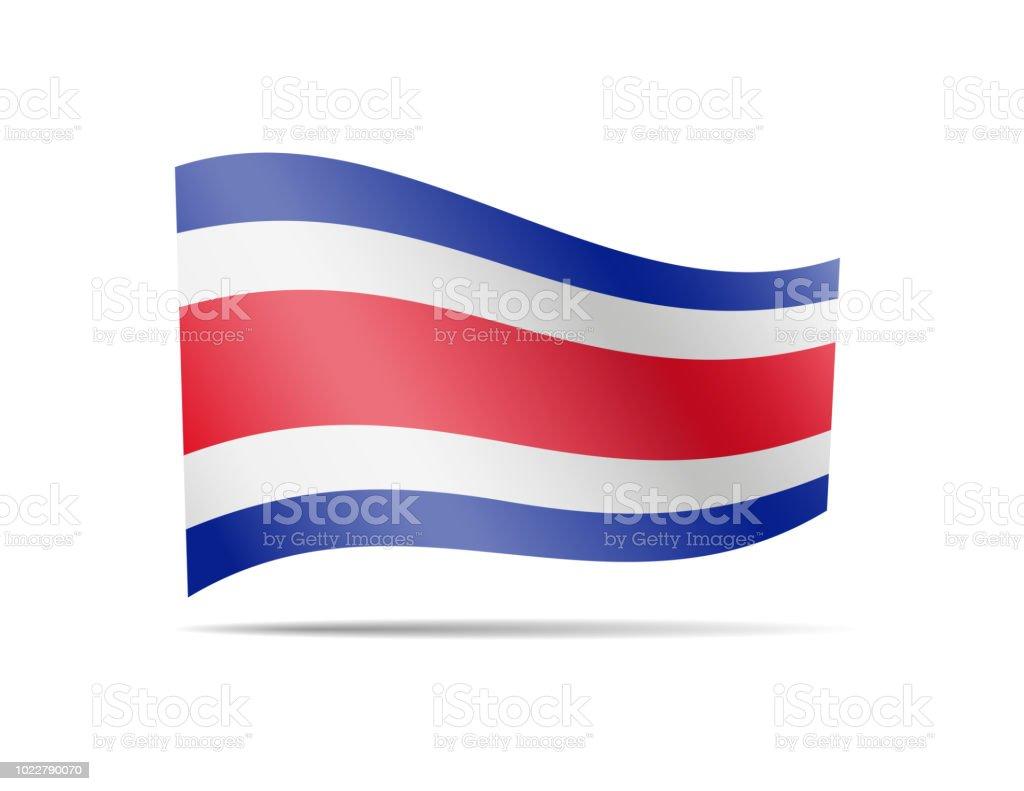 En el viento ondeando la bandera de Costa Rica. - ilustración de arte vectorial
