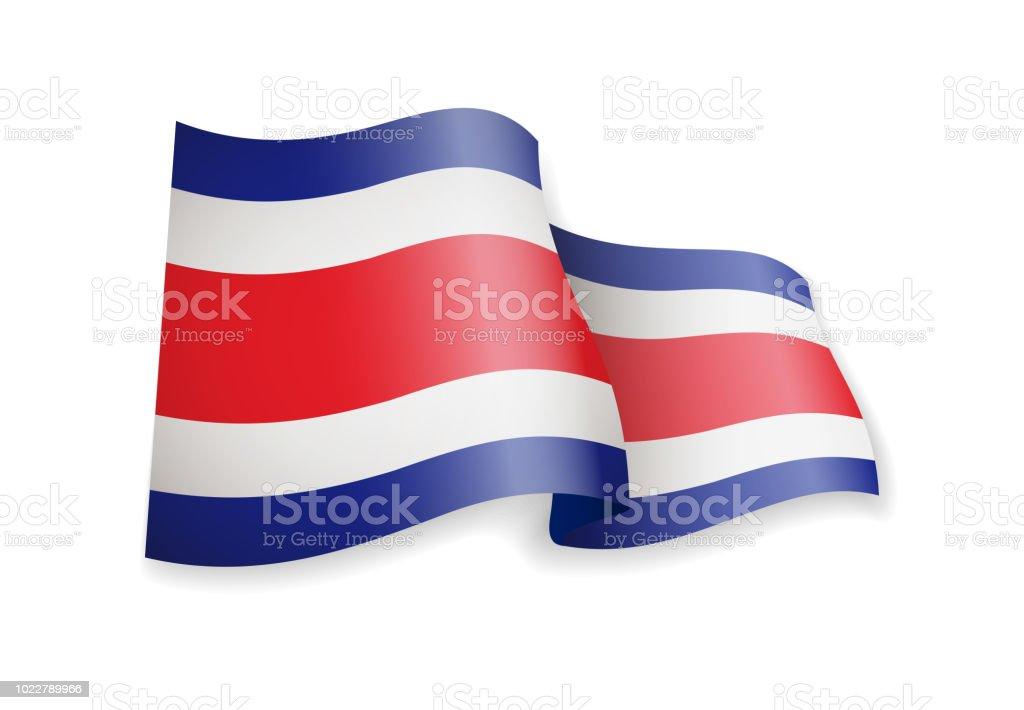 Ondeando la bandera de Costa Rica sobre fondo blanco. - ilustración de arte vectorial