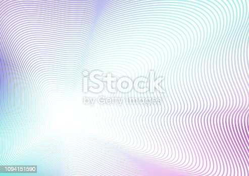 istock Waving deformed background. Turquoise, purple, violet, white gradient. Futuristic line art pattern with flash effect. Concept of perspective. Vector colored abstract composition. EPS10 illustration 1094151590