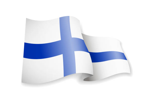 waving finland flag on white background. - finnish flag stock illustrations, clip art, cartoons, & icons