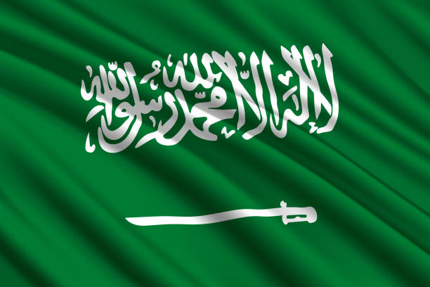 waving flag background - saudi national day stock illustrations