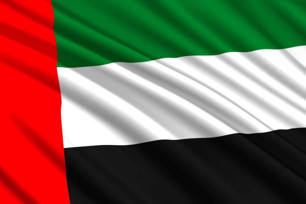waving flag background - uae national day stock illustrations