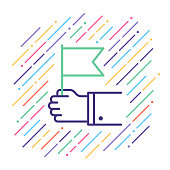 Line vector icon illustration of waving flag.