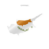 Detailed waving flag map of Cyprus. Vector map with masked flag.