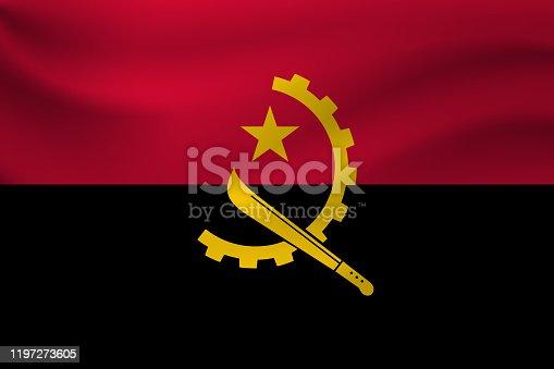 istock Waving flag of Angola. Vector illustration 1197273605