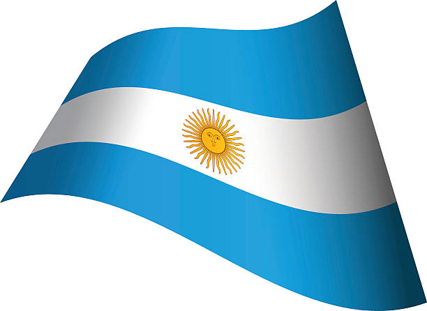アルゼンチンの国旗を振っ ベクターアートイラスト