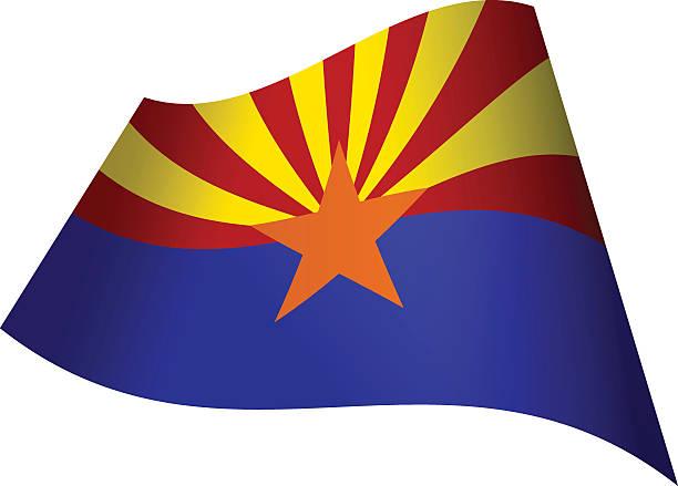 Waving Flag of Arizona vector art illustration