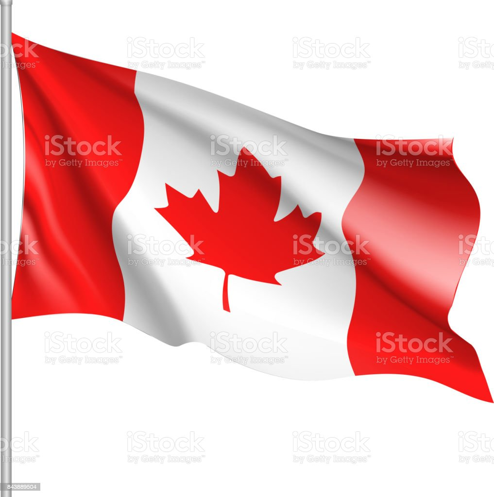 Waving flag of Canada vector art illustration