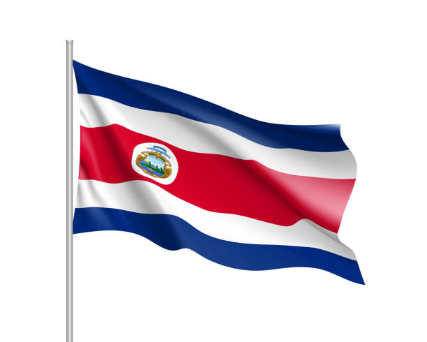 Waving flag of Costa Rica vector art illustration