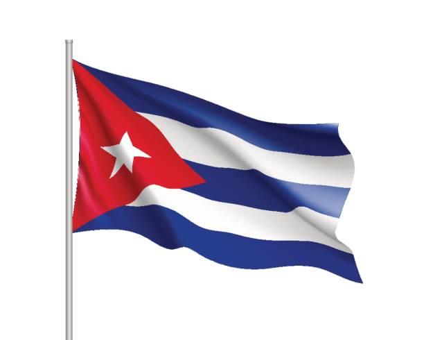 Agitando bandera de Cuba - ilustración de arte vectorial
