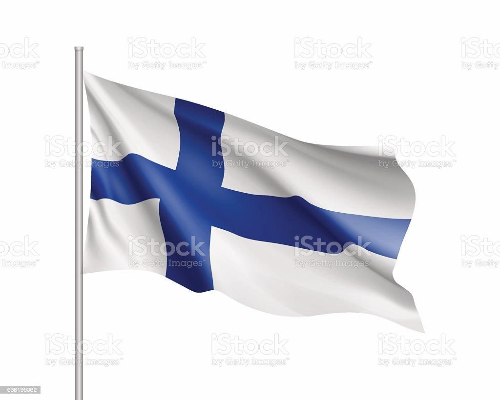Waving flag of Finland state – Vektorgrafik