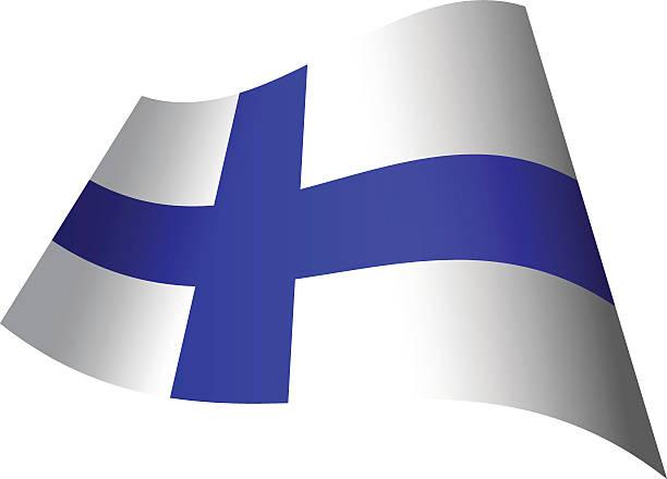 旗を振るフィンランド - フィンランドの国旗点のイラスト素材/クリップアート素材/マンガ素材/アイコン素材