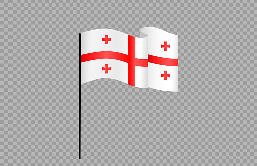 Waving flag of Georgia isolated  on png or transparent  background,Symbol of Georgia,template for banner,card,advertising ,promote, vector illustration top gold medal sport winner country