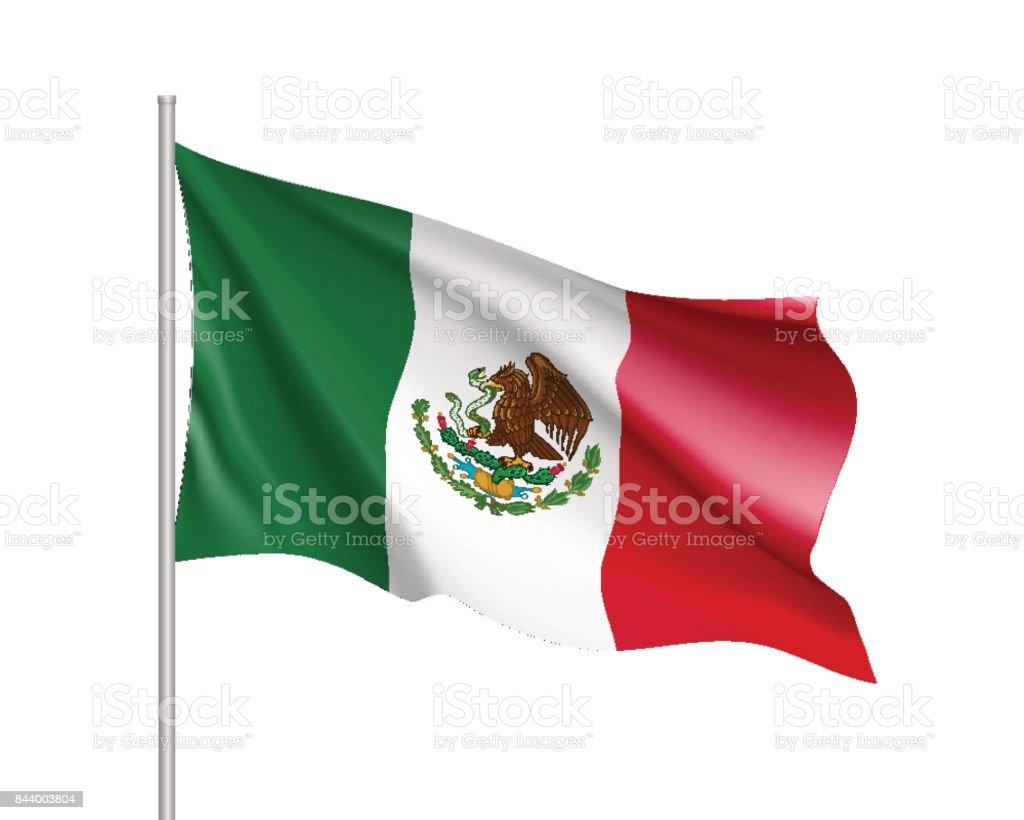 Waving flag of Mexico vector art illustration