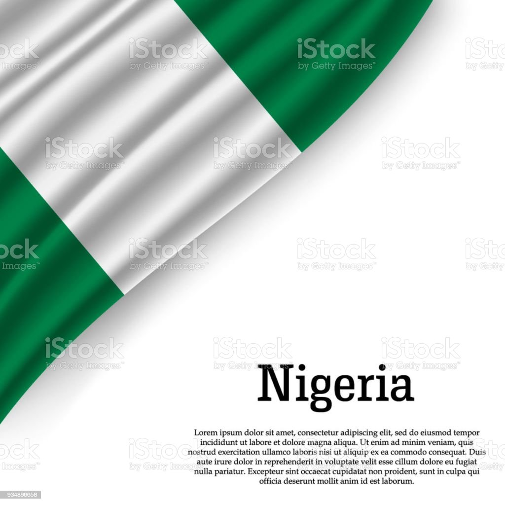 waving flag of Nigeria vector art illustration