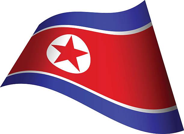 waving flag of north korea - korean flag stock illustrations, clip art, cartoons, & icons