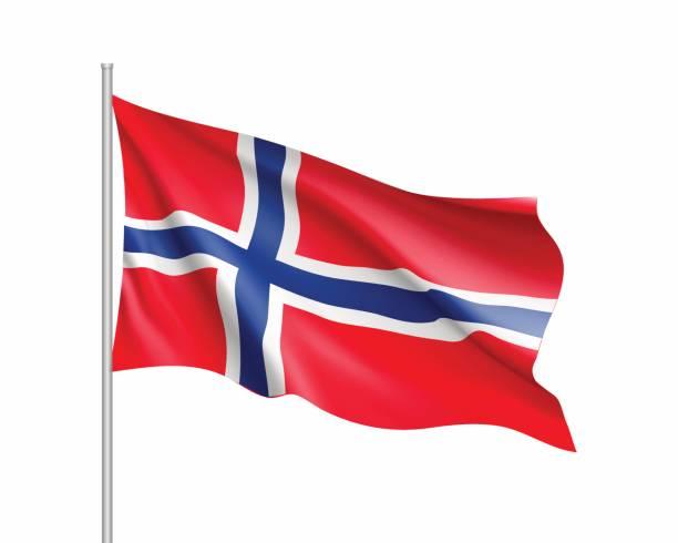 stockillustraties, clipart, cartoons en iconen met wapperende vlag van noorwegen staat - noorse vlag