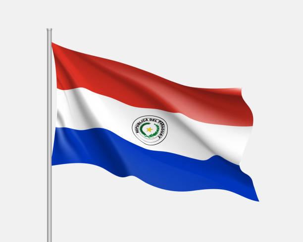 Bandera ondeante de Paraguay - ilustración de arte vectorial