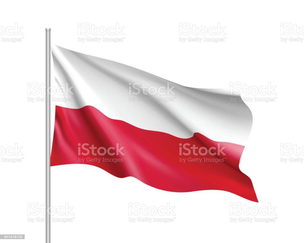 Waving flag of Poland state vector art illustration