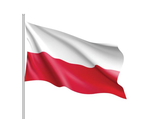 waving flag of poland state - polish flag stock illustrations, clip art, cartoons, & icons