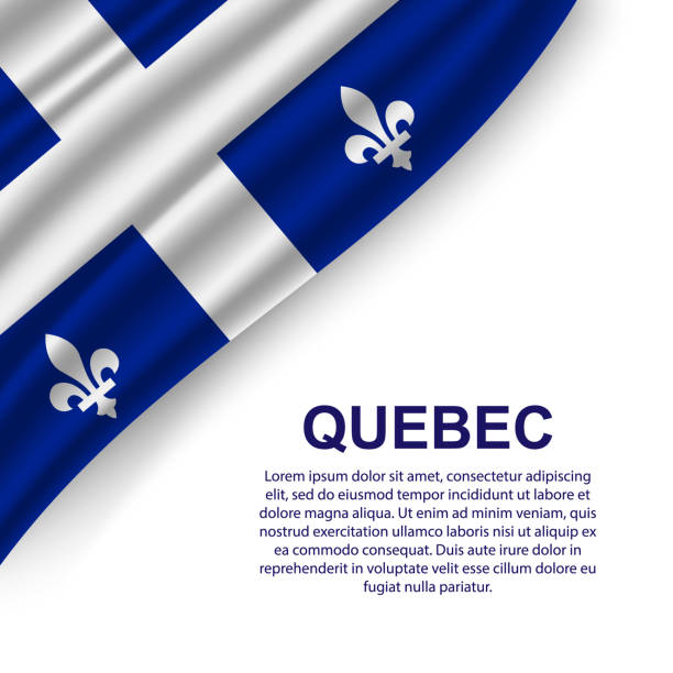 waving flag of Quebec waving flag of Quebec on white background. Template for design quebec stock illustrations