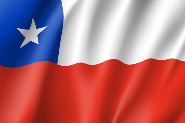 waving flag of republic chile - chile flag stock illustrations, clip art, cartoons, & icons