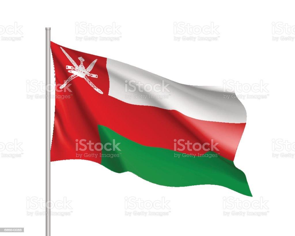 Waving flag of Sultanate of Oman. vector art illustration