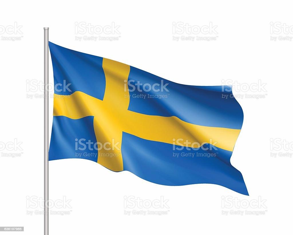 Waving flag of Sweden state – Vektorgrafik